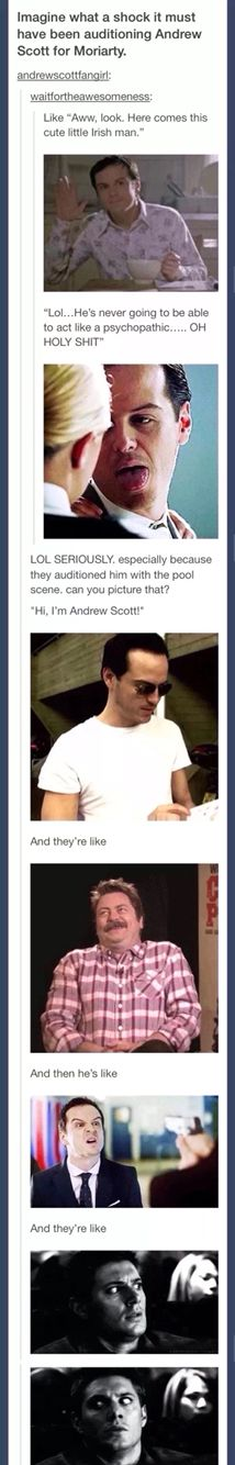 I can see it now!! Love Andrew Scott as Moriarty << is no one going to mention that the Supernatural fandom strikes AGAIN with a perfect gif? XD SuperLock!