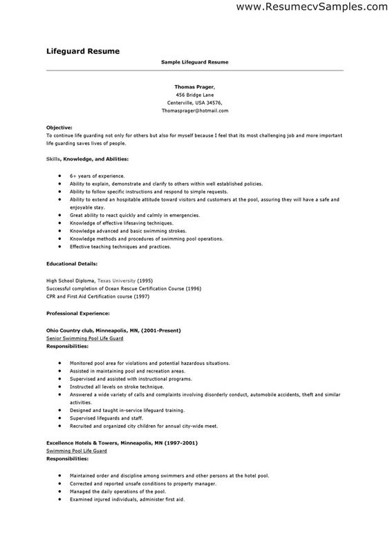 certified lifeguard resume resume pinterest