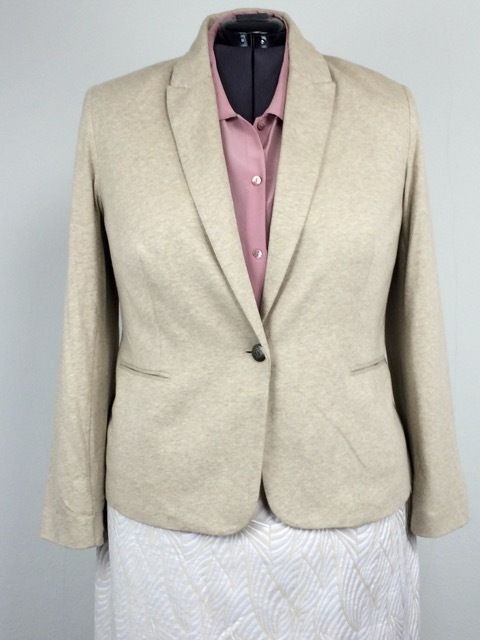 British Khaki 2X Beige Oatmeal Stretch Cotton Blazer Jacket Stripe Lining Plus #BritishKhakiWoman #BlazerJacket