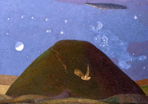 David Inshaw - Silbury Hill on a Starry Night