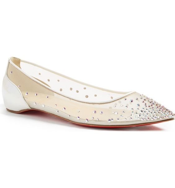 Christian Louboutin Follies Strass Pointy Toe Flat