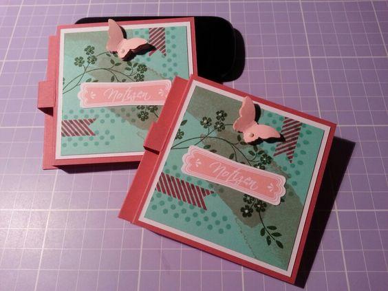 Post it mit Stifthalter... Stanze(Modernes Label, Kleiner Schmetterling), Happy Wathercolor, In Gedanken bei Dir, Wimpeleien...