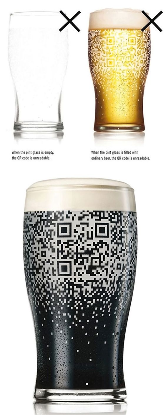 The Guinness QR Cup reveals itself only when the dark beer is poured into it.  Once there, the entire cup becomes your personal portal to all things social media!