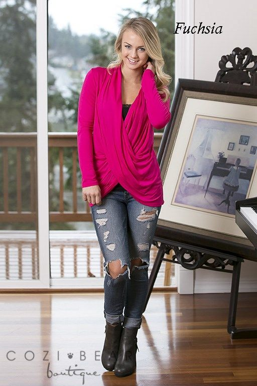 "Our new long sleeve crossover tops are adorable and perfect for layering in these upcoming cooler months. Layer them over your favorite tank/cami/layering top and you'll be set this season. Pair them with anything, your favorite jeans, skirts, etc.They're so versatile! They're also perfect for those nursing moms!  COLORS  BlackCharcoalEggplantFuchsiaMochaMustardNavyRustTealWineSIZING  Small (2/4)Medium (6/8)Large (10/12)XL (14/16)*Model 5'7"", wears a size 2 and ..."