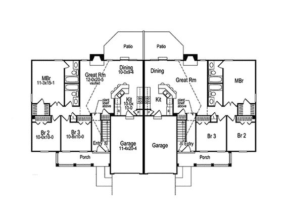 Shadydale multi family duplex house plans home and for Multifamily house plans