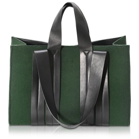 Corto Moltedo Handbags Costanza Beach Club Large Felt Green Tote (€715) ❤ liked on Polyvore featuring bags, handbags, tote bags, beach tote bags, handbags purses, purse tote, handbags totes and green handbags