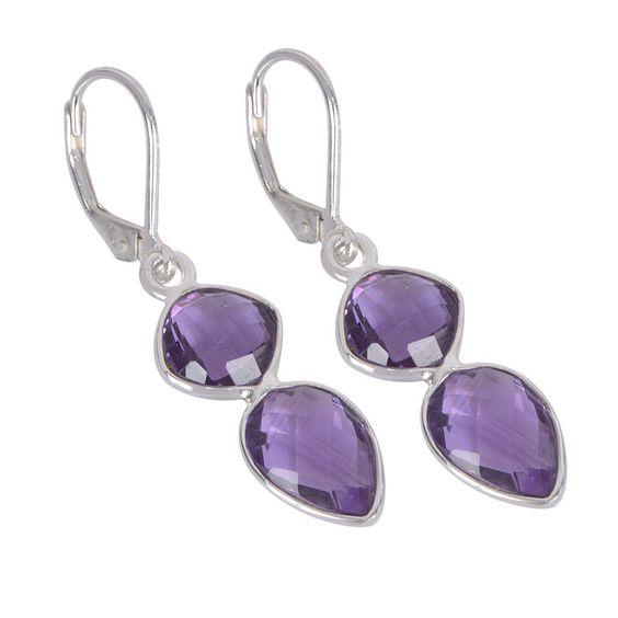 Amethyst and Sterling Silver Drop Dangle Earring, Handmade Earring 31411