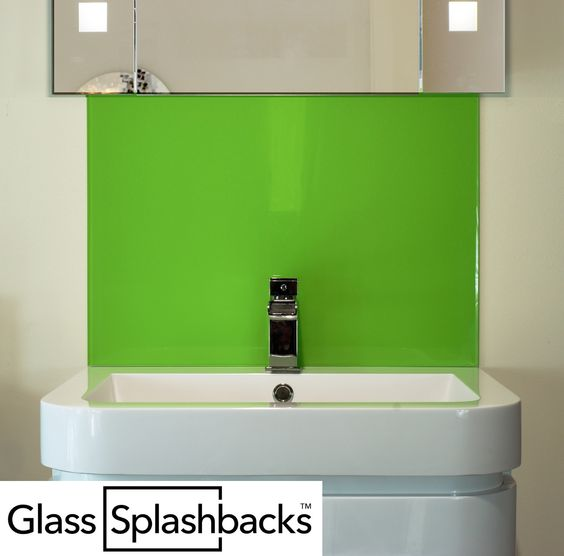green bathroom glass sink splashback fitting a glass sink splashback