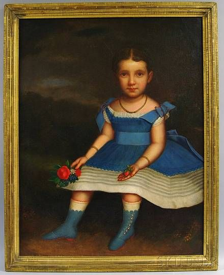 J Platt American 19th Century Girl in a Blue Dress with Fruit and Flowers