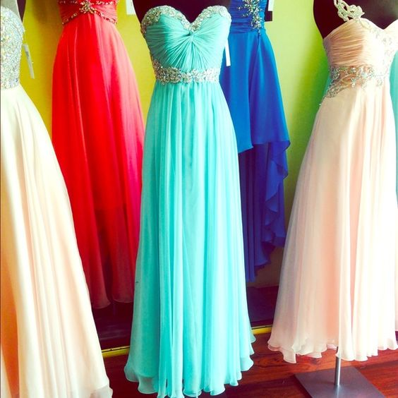 Strapless Prom dress Strapless mint green prom dress with silver jewels around the bust and waist area Cinderella Dresses Strapless