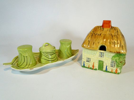 244) Carlton ware – vintage cruet set together with a Carlton Ware vintage Cottage lidded sugar bowl Est. £10-£15