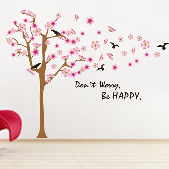 Chic Birds and Pink Flower Pattern Removeable Wall Stickers