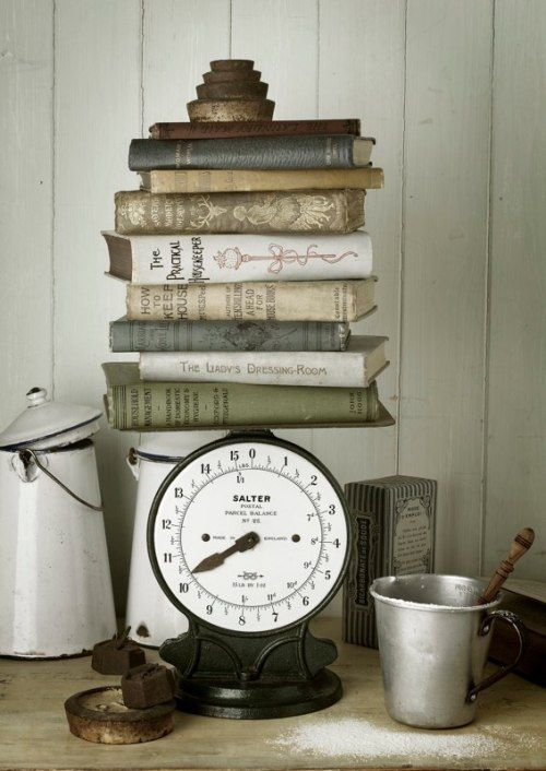 vintage scale with old cookbooks on it :) Just got my old scale today! Now cookbooks :)