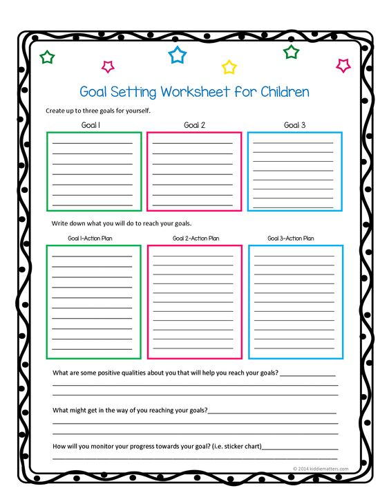 Helping children learn how to set goals and action plans Kiddie - action plan work sheet