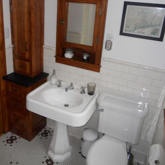 Restored 1928 Bathroom. The Floor Is Original And Was Hidden Under The Removed Tiles. This