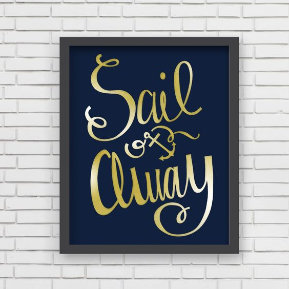 "How darling is this ""Sail Away"" wall art from @LucyDarlingShop?! Perfect for a nautical-inspired nursery or kids room!"