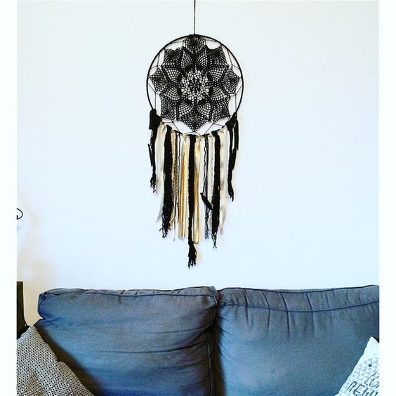 maxi attrape r ve dreamcatcher boh me ethnique original laine noir dentelle biais dor noir. Black Bedroom Furniture Sets. Home Design Ideas