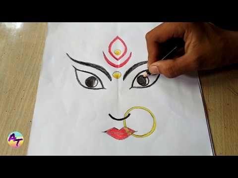 How To Easy Draw Durga Maa Durga Maa Ki Drawing Kese Banaye Youtube Easy Drawings Simple Designs To Draw Drawings