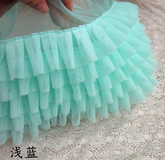 ivory tulle ruffled pleated mesh fabric Trim 3D 5 layer tulle ruffle trim for baby tutu doll sewing accessories