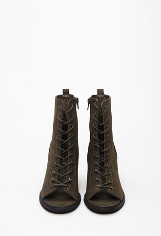 Low Heel Green Lace Up Peep Toe Booties | heels FOREVER21 ...