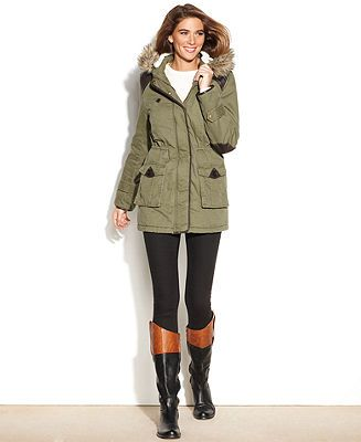 Style&co. Coat Hooded Faux-Fur-Trim Parka - Coats - Women