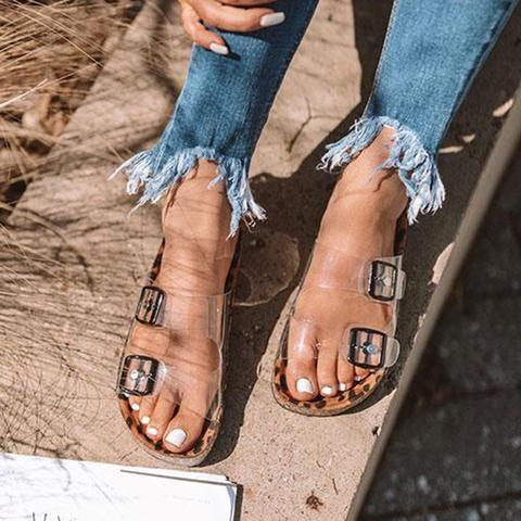 Women Clear Rivet Beach Sandals Wedge Heels Summer High