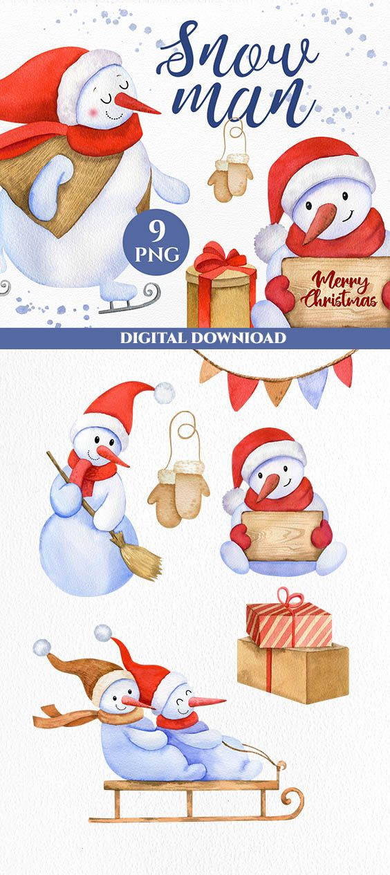 35+ Cute Cardinal With Snowman Clipart