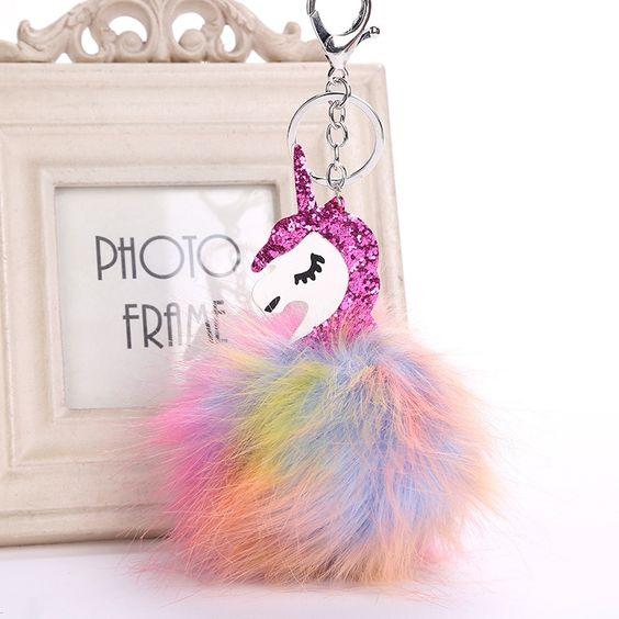 Pegasus unicornio llavero Pom llavero bolso encantos joyería para las mujeres Animal piel bola llavero colores pompón llaveros en Llaveros de Joyería y accesorios en AliExpress.com | Alibaba Group