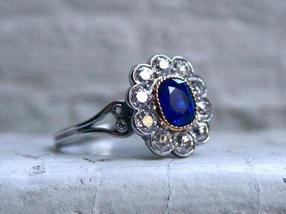 vintage Art Deco Diamond & Sapphire Ring engagement ring