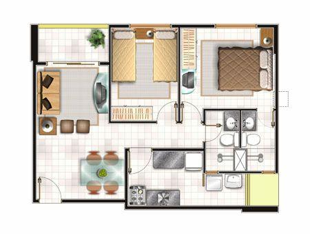 Planos de vivienda de 57m2 planos de viviendas peque as for Planos de casas pequenas