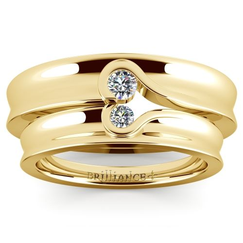 Matching Bezel Heart Concave Diamond Wedding Ring Set in Yellow Gold https://www.brilliance.com/wedding-rings/matching-bezel-heart-concave-diamond-wedding-ring-set-yellow-gold