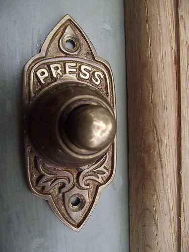 Traditional Victorian Old Style Brass Door Bell--I love this door bell.