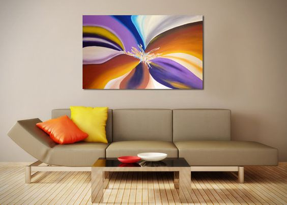 """Original Large Abstract Painting on Canvas - Home Decor Modern Textured Acrylic by Joaquina, Tropical Blend -Size : 30"""" x 48"""" x 1.4"""" deep"""