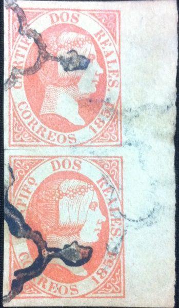 Par de Selos Isabel Segunda 1854, Espanha, Em Perfeito Estado.