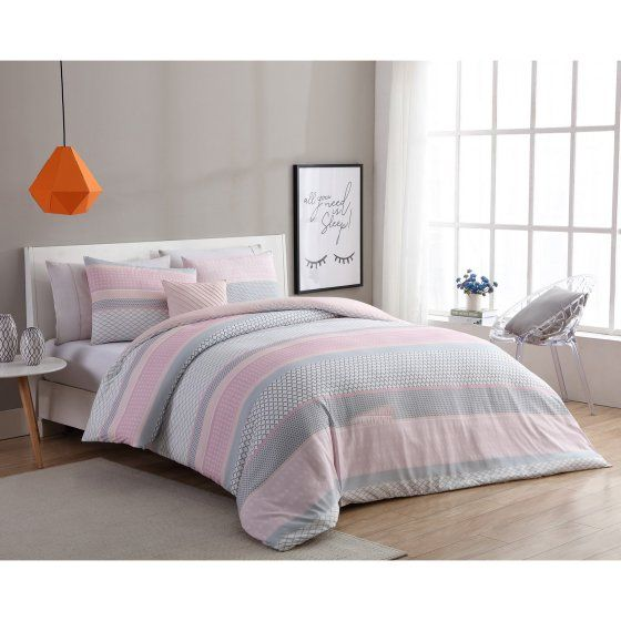 Vcny Home Light Pink Grey Stockholm 3 4 Piece Comforter Bedding Set Shams And Decorative Pillow Included Walmart Com Pink And Grey Bedding Pink Bedroom Decor Pink Bedroom Design