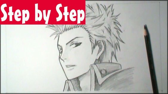 How To Draw Manga Male Face 3 4 View Step By Step Tutorial Manga Drawing Drawings Sketches