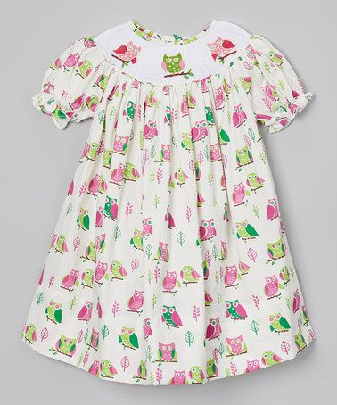 Take a look at this Green & Pink Owl Dress - Infant, Toddler & Girls by Dibble Dabble Dandy on #zulily today!