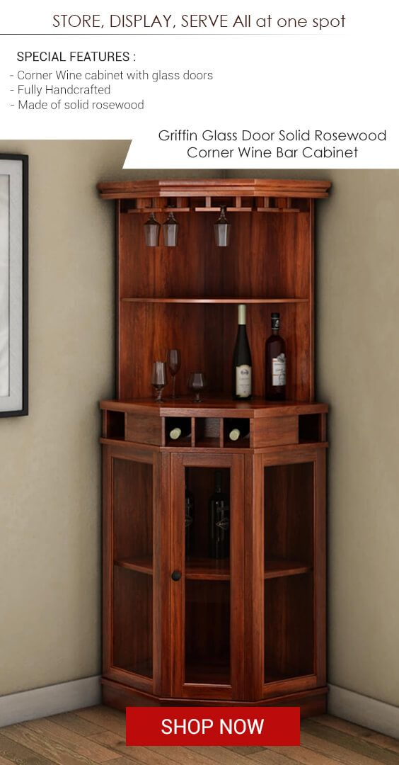 Solid Wood Corner Liquor Display Cabinet With Wine Storage Wine Bar Cabinet Bar Cabinet Corner Wine Bar