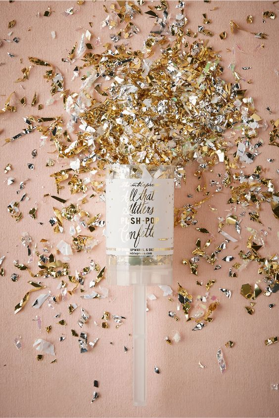 Gold glitter push up pop! New Years eve wedding, bridesmaid gift, will you be my bridesmaid, party in a box!: