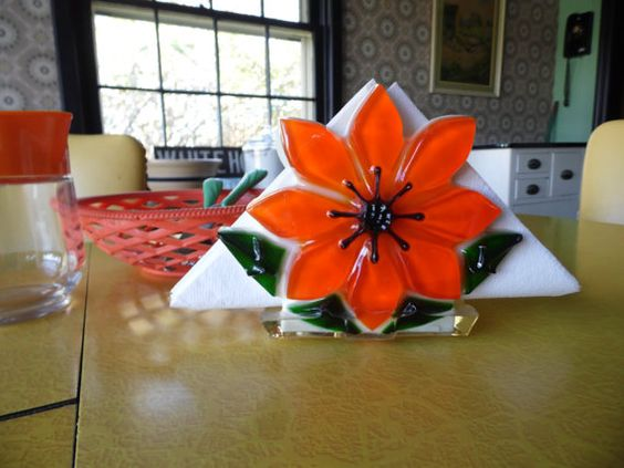 Kitschy Orange Resin Daisy Flower Napkin Holder or by MadGirlRetro