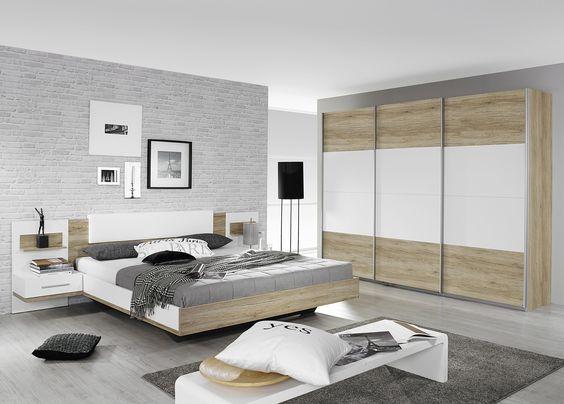 Schlafzimmer mit Bett 180 x 200 cm alpinweiss\/ Eiche Sanremo hell - komplette schlafzimmer modern