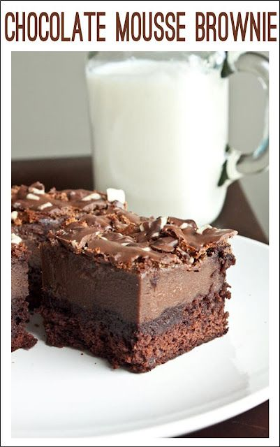 Chocolate mousse brownie a crowd pleaser!