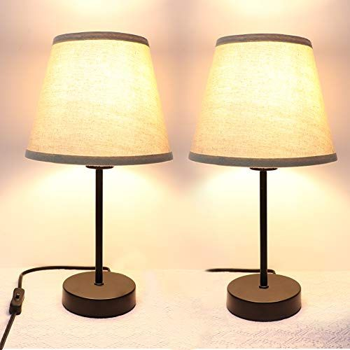 Bedside Table Lamp Set Of 2 Partphoner Desk Lamp Small Nightstand Lamp With Cream Fabric Linen Shad Small Nightstand Lamps Table Lamp Sets Bedside Table Lamps
