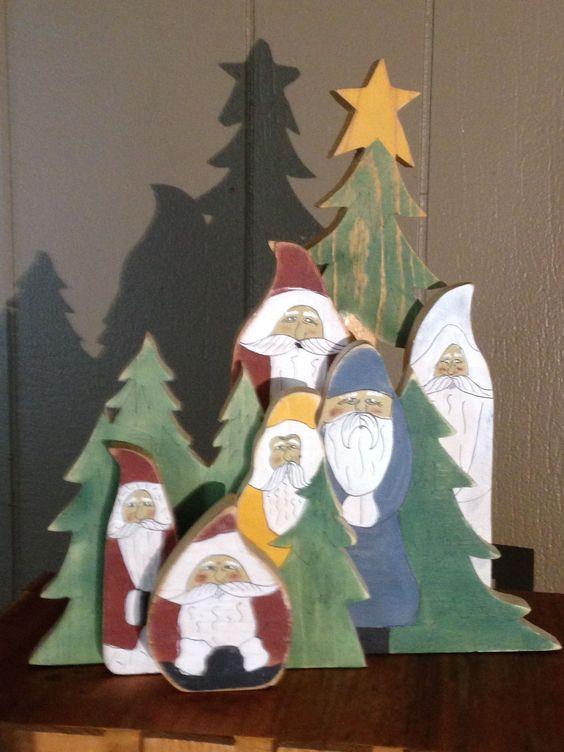 Wood Santa group