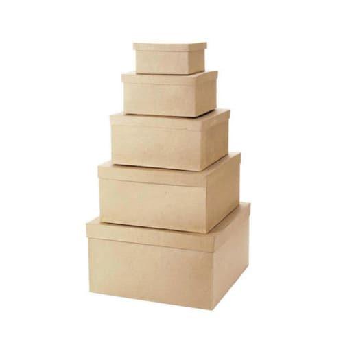 Paper Mache Boxes 6 8 10 12 14 Square Set Of 5 Paper Mache Boxes Paper Mache Paper Mache Crafts