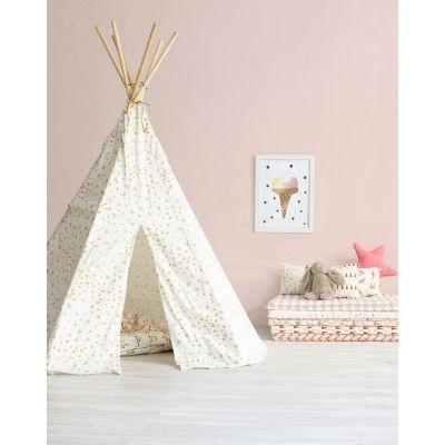 nobodinoz tente tipi blanche tincelles roses et dor es. Black Bedroom Furniture Sets. Home Design Ideas