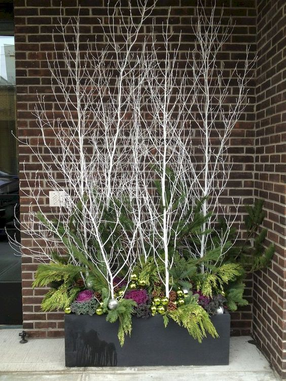 sticks and twigs to decorate winter garden container #christmas  #containers #planters #gardenplanters #christmasBall #branches #twigs