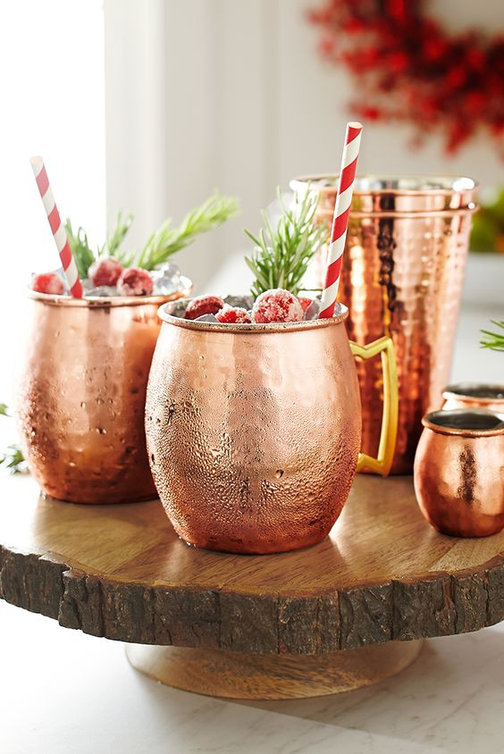 A cup of cheer seems even more cheerful when it's served in a Pier 1 Moscow Mule Cocktail Mug. These handcrafted mugs are ideal for getting creative with your Christmas libations. Match them with our copper-colored barware for a festive party combination.
