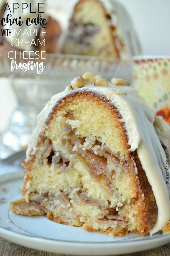 Apple Chai Cake with Maple Cream Cheese Frosting