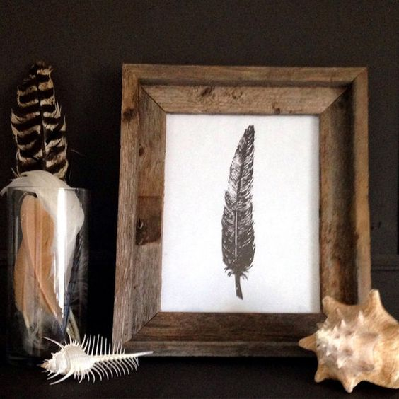 Rustic Illustration Feather Wall Print Digital Instant Download